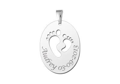 Engraved jewellery Silver birth pendant Feet