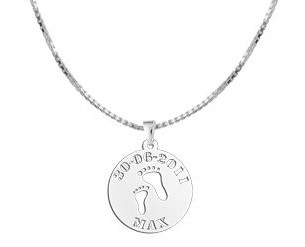 """Engraved jewellery Silver Baby pendant """"Baby feet"""""""