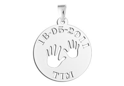 """Engraved jewellery Silver Baby pendant """"Baby hands"""""""