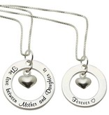 Words of Love (silver) 2 Silver Necklaces 'The love between Mother and Daughter is Forever'