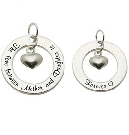 KAYA jewellery 2 Silver Pendants 'The love between Mother and Daughter is Forever ♡'