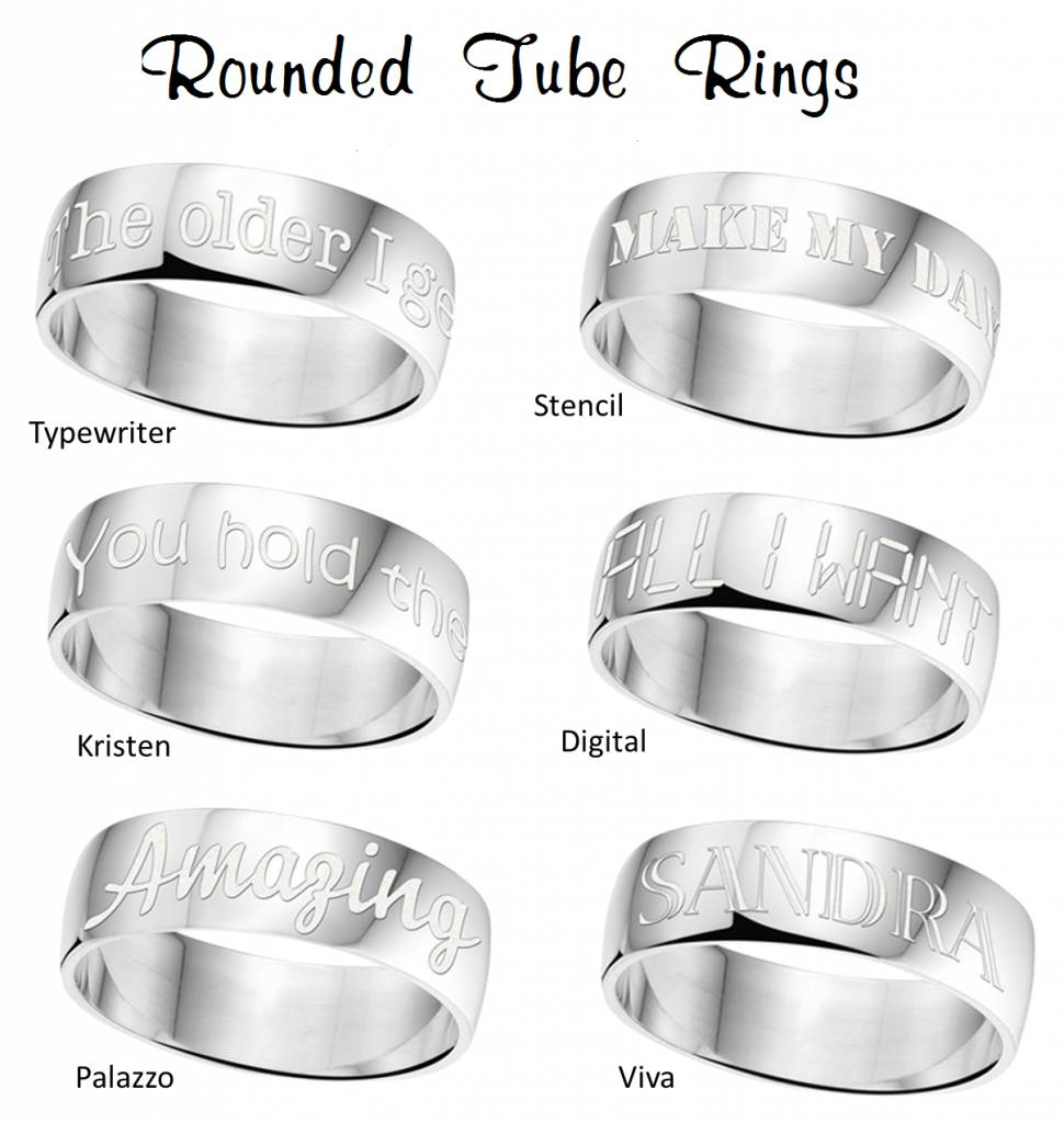 Engraved jewellery Silver Personalized Ring 6 mm