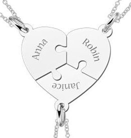 Engraved jewellery Names4ever Silver heart three puzzle piece friendship necklace