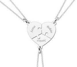 Engraved jewellery Silver heart three puzzle piece friendship necklace
