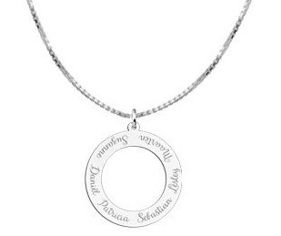 KAYA jewellery Silver round pendant with six names