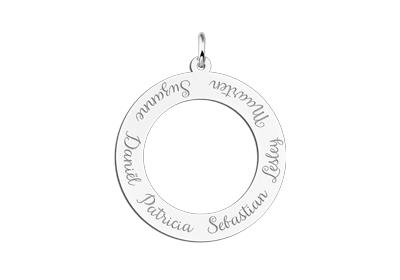Engraved jewellery Silver round pendant with six names