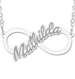 Engraved jewellery Names4ever Silver personalised infinity necklace 'Your name'