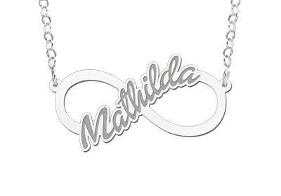Engraved jewellery Silver personalised infinity necklace 'Your name'