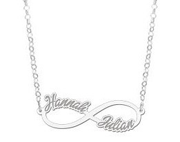 Engraved jewellery Personalised Silver infinity necklace with two names