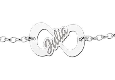 Engraved jewellery Silver Infinity bracelet with name