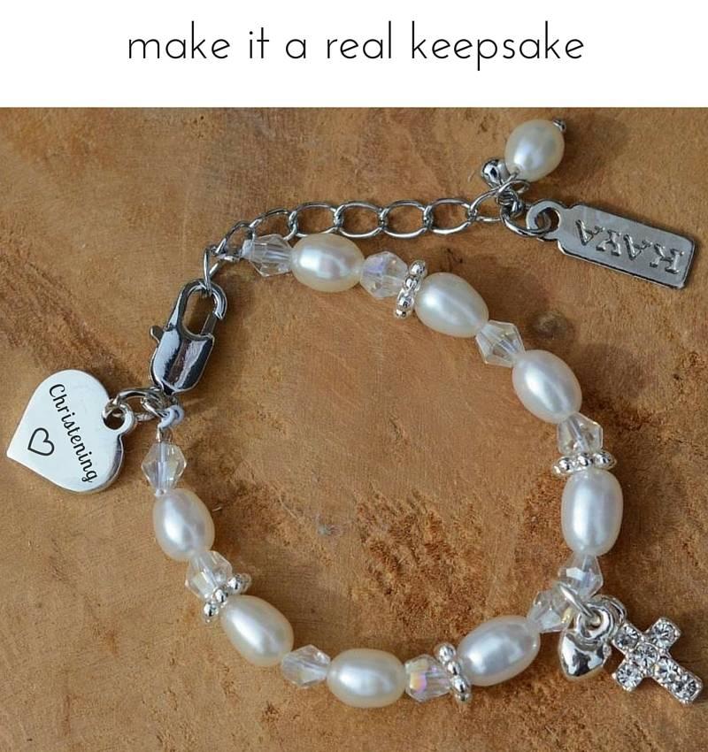 KAYA jewellery Adorable Christening - Communion Bracelet 'Infinity Pink' with Small Cross