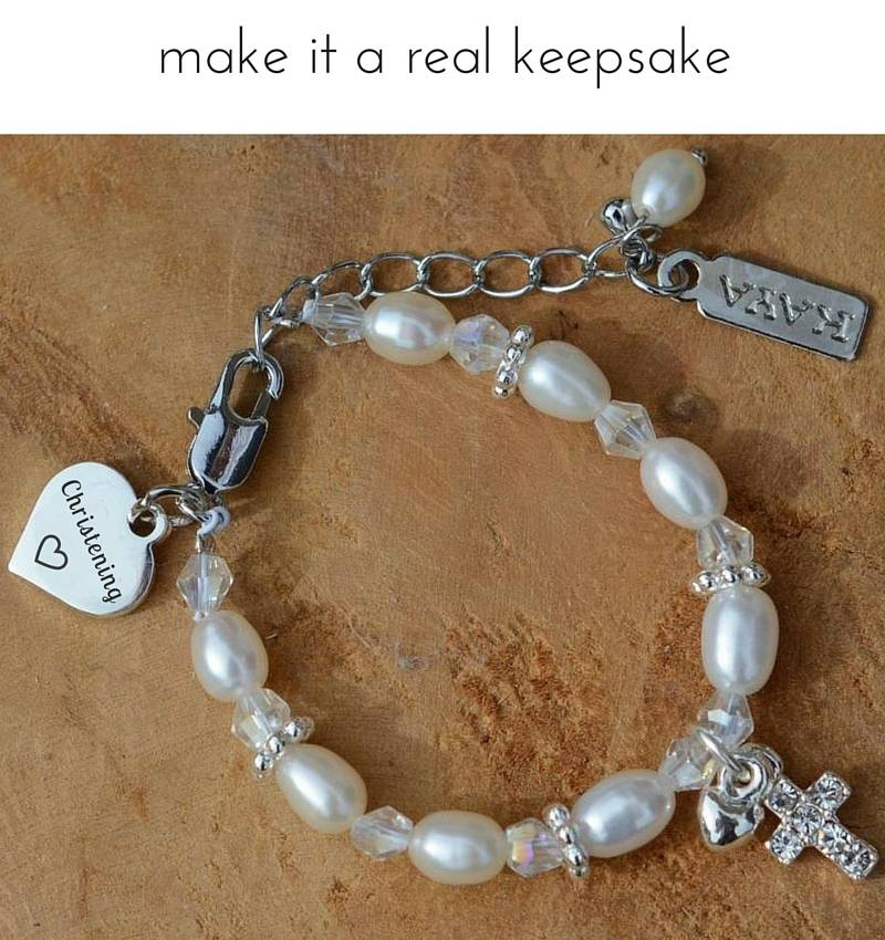 KAYA jewellery Cute Christening - Communion Bracelet 'Infinity Pink' with Cross & Heart