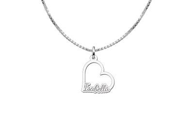 Engraved jewellery Sterling Silver Communion Pendant Heart with Name