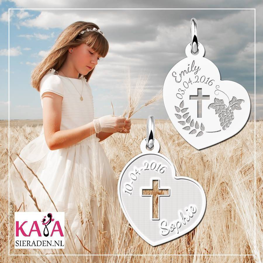 Engraved jewellery Heart Shaped First Communion Pendant