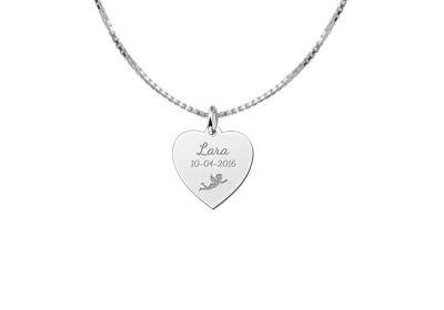 Engraved jewellery Heart Shaped Silver Communion Pendant