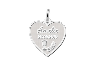 Engraved jewellery Sterling Heart Shaped Communion Pendant