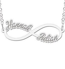 Engraved jewellery Names4ever Personalised Silver infinity necklace with two names