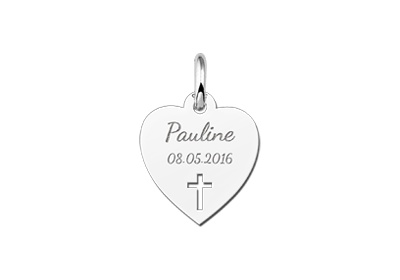Engraved jewellery Communion Heart Pendant with Cross