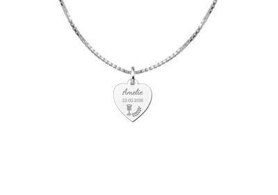 Engraved jewellery Sterling Communion Heart Pendant Gift