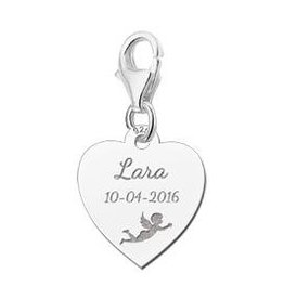 Engraved jewellery Names4ever Engraved Communion Charm Heart with Angel