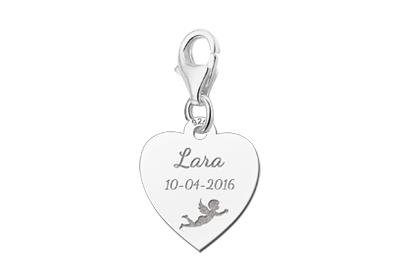 KAYA jewellery Engraved Communion Charm Heart with Angel