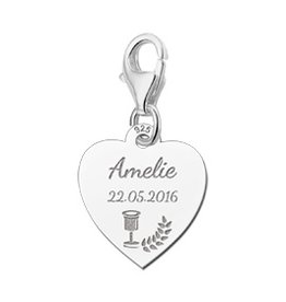 Engraved jewellery Names4ever 925 Silvers Communion Heart Charm