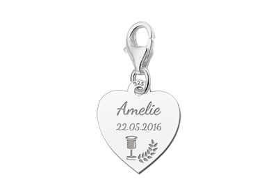 Engraved jewellery 925 Silvers Communion Heart Charm