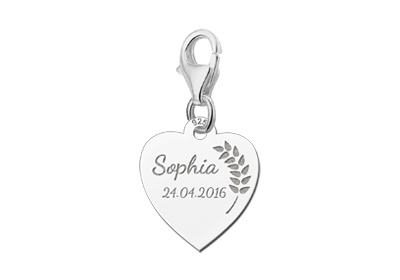 Engraved jewellery Holy Communion Silver Heart Charm