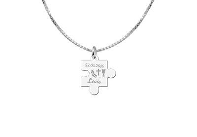 Engraved jewellery Sterling 1st Communion Puzzle Piece