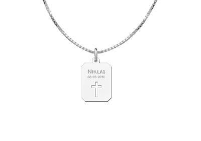 Engraved jewellery Silver Cross Communion Pendant Piece