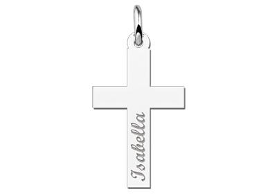 Engraved jewellery Silver Communion Cross Pendant Gift