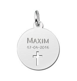 Engraved jewellery Names4ever Communion Silver Pendant with Cross