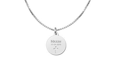Engraved jewellery Communion Silver Pendant with Cross