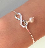 "KAYA jewellery Silver Mum & Me Bracelets set ""You are loved for Infinity"" 'Pearls"