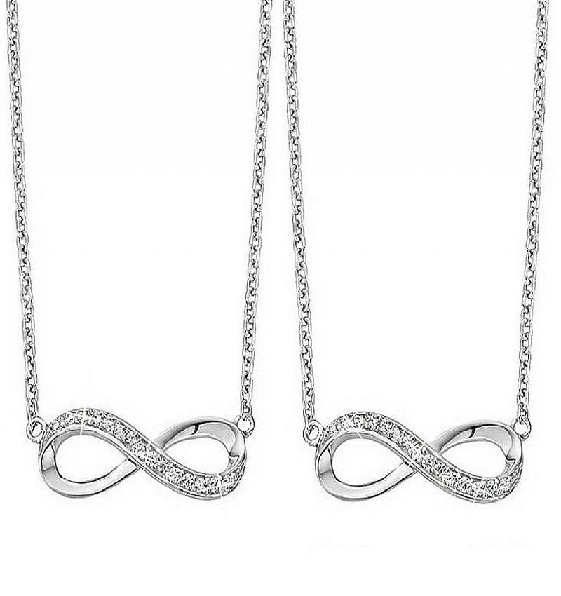 silver jewellery Silver mother and daughter chains 'Forever'