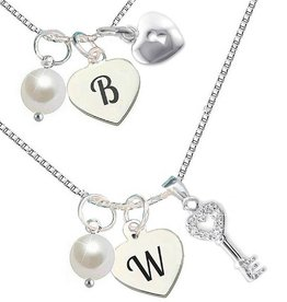 """silver jewellery Silver chains set """"Key to my Heart """""""