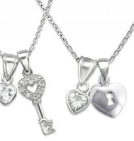 """silver jewellery Silver Mom & Me necklaces """"Key to my Heart"""""""