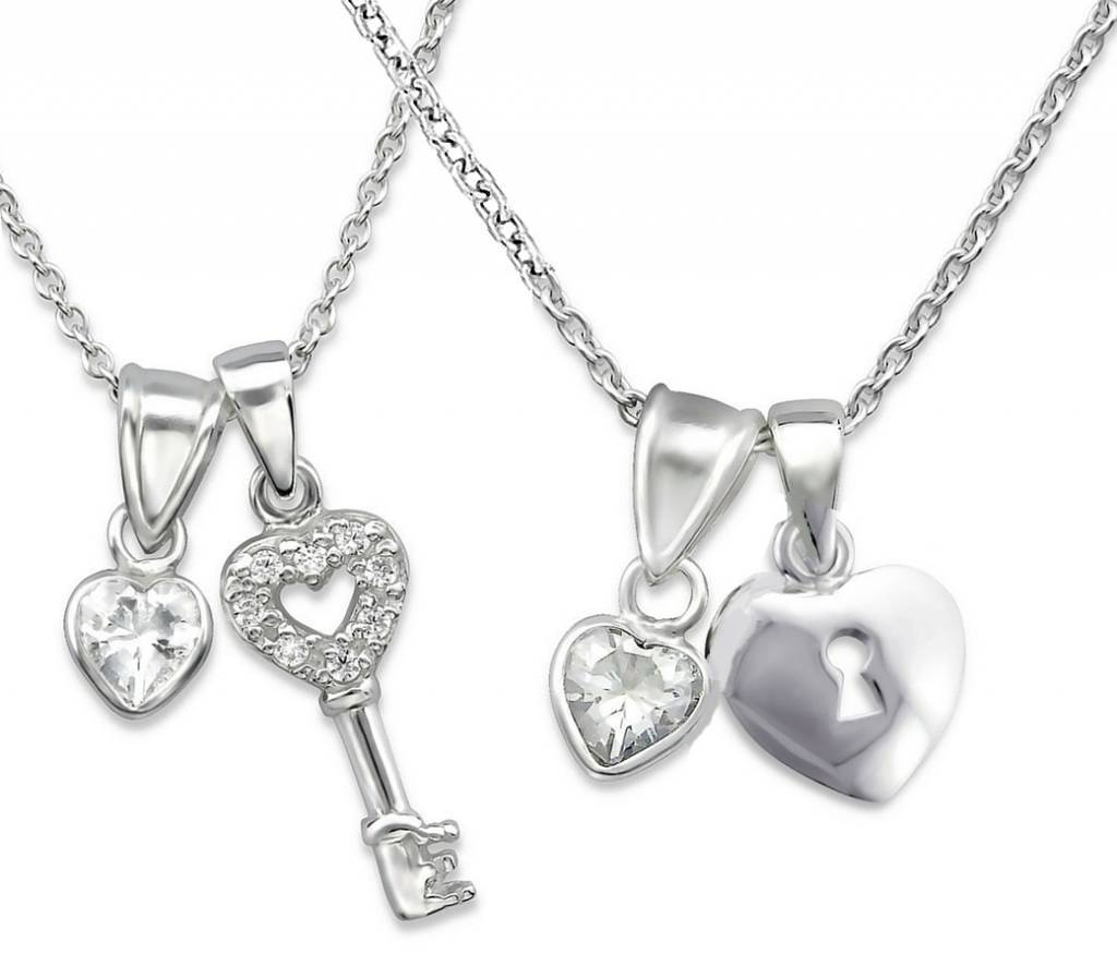 "KAYA jewellery Silver Mom & Me necklaces ""Key to my Heart"""