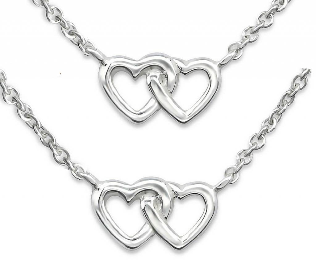 silver jewellery Silver Mom & Me chains 'Entangled hearts'