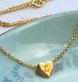 KAYA jewellery Gold plated heart pendant with 'Initials'