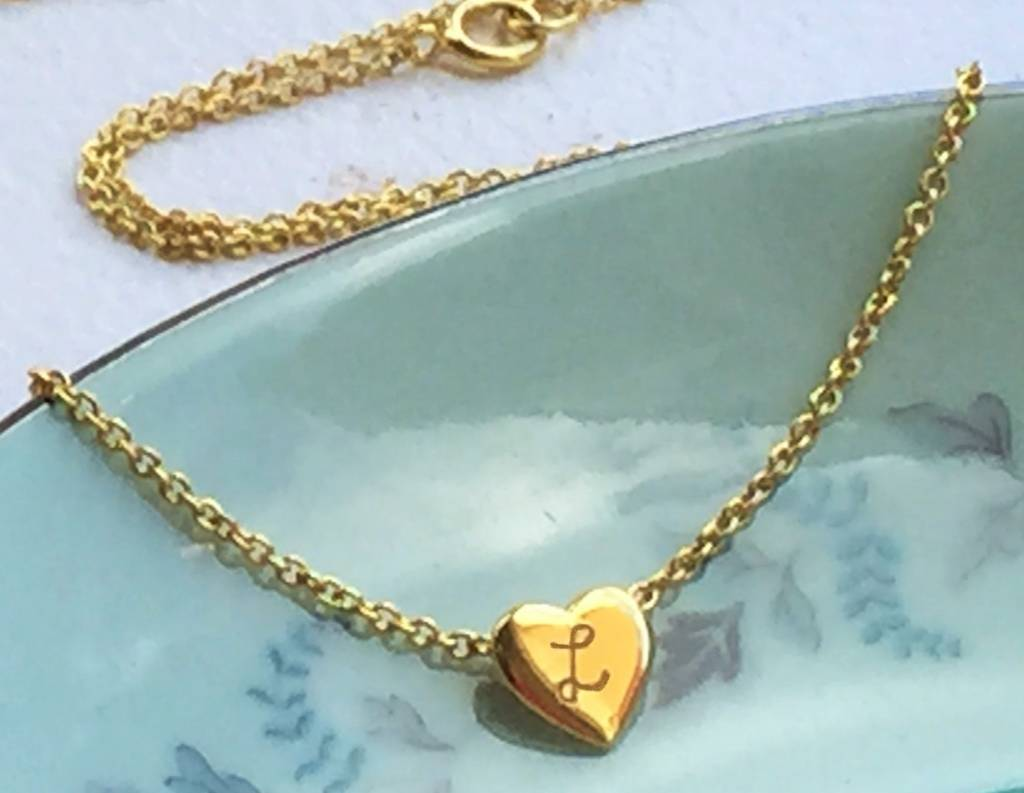 silver jewellery Gold plated heart pendant with 'Initials'