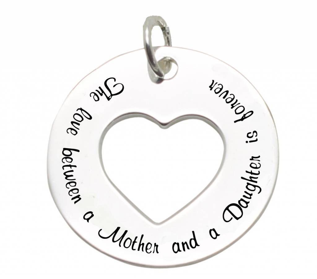 silver jewellery Silver Pendant 'The love between Mother and Daughter is forever'
