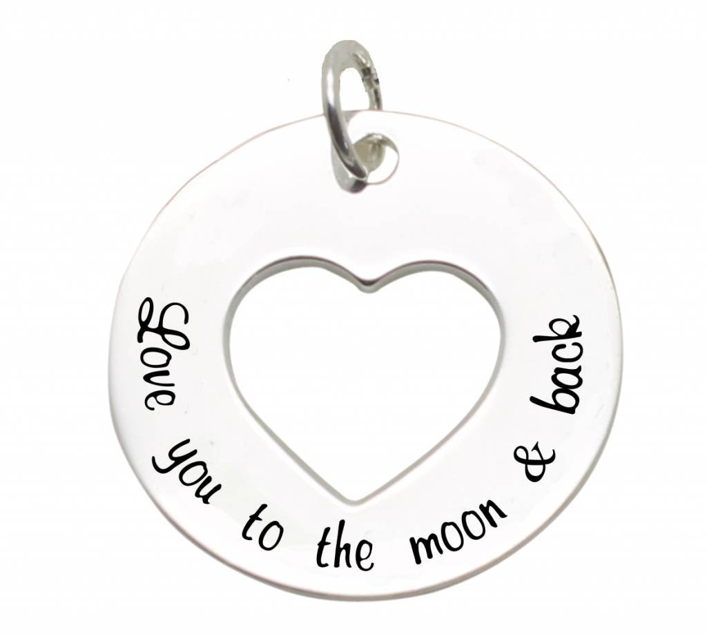 silver jewellery Silver Pendant 'I Love you to the Moon & Back'