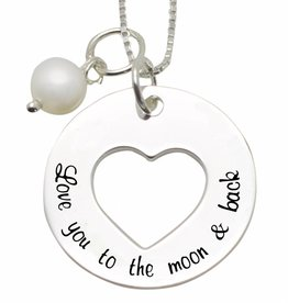 KAYA jewellery Silver 'Love' necklace 'Love you to the Moon & Back'