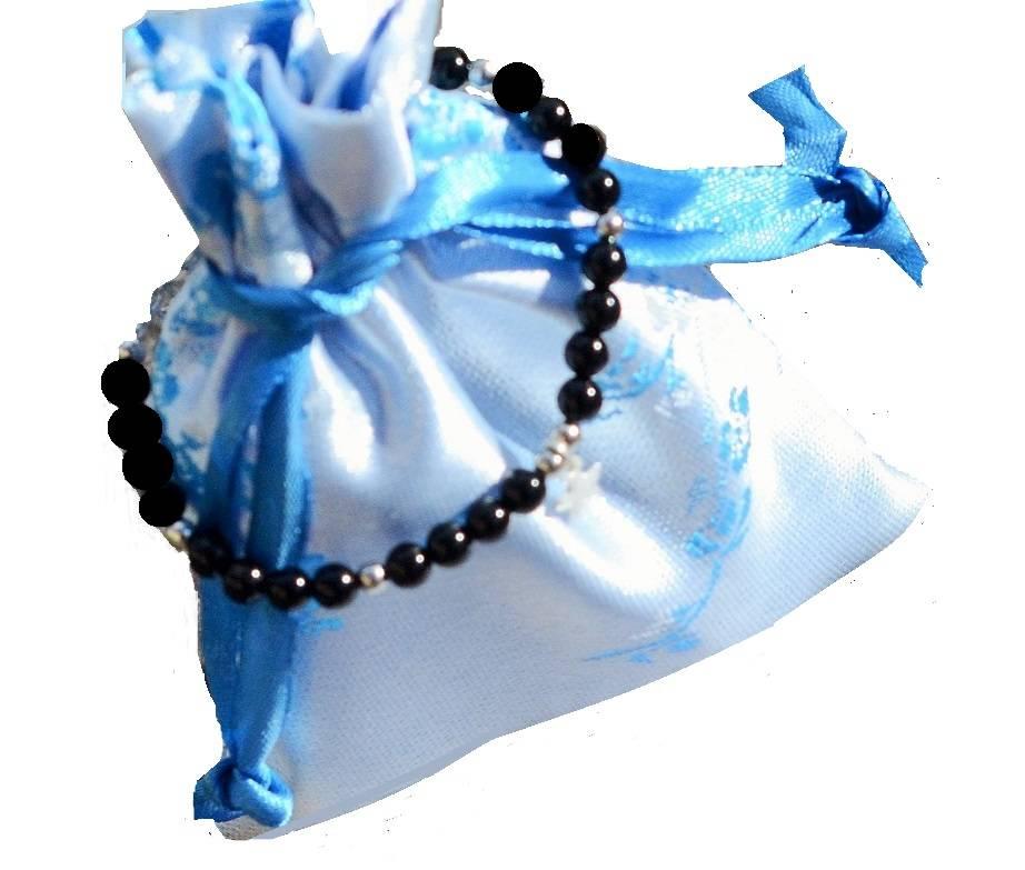 KAYA jewellery Silver Bracelet 'Black Onyx' with Cross