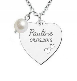 silver jewellery Silver Necklace 'Personalize' with Pearl