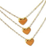 """silver jewellery Three Generation Chains with """"golden hearts"""""""