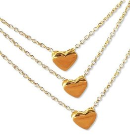 "silver jewellery Three Generation Chains with ""golden hearts"""