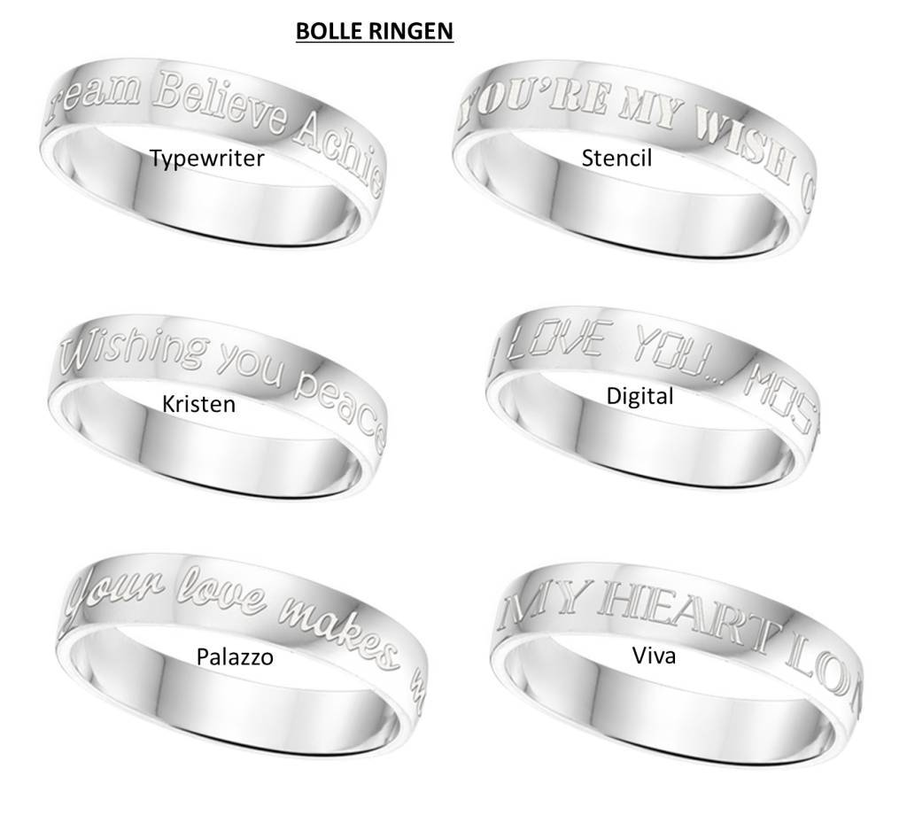 Engraved jewellery Text Ring 4mm Steel engraving