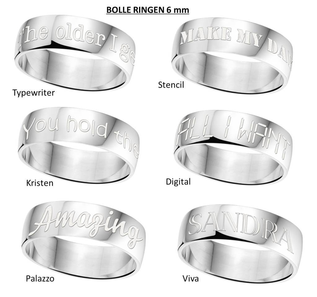 Engraved jewellery Text Ring 6mm Steel engraving